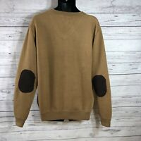 Ecko Unltd brown Long Sleeve V-Neck Sweater W/ Elbow pads Mens shirt size XL