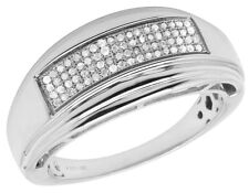 Hombres Oro Blanco Plata de Ley Diamantes Reales Anillo de Boda 0.20ct 10MM