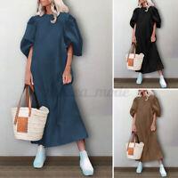 UK Womens Puff Sleeve A Line Casual Loose Holiday Beach Kaftan Baggy Long Dress