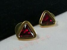 Vintage Estate Gold Swan Swarovski Crystal Ruby Red Gold Earrings