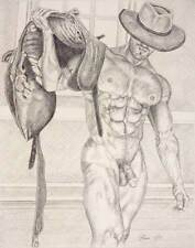 """9"""" x 12"""" drawing print nude male cowboy front view gay interest"""