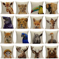 "18"" Animal Lion Giraffe Tiger Rabbit Linen Pillow Case Square Sofa Cushion Cover"