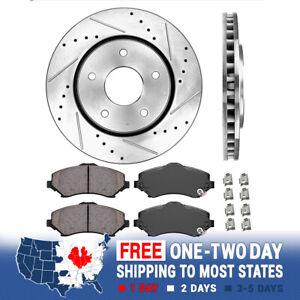 For Town & Country Caravan Front Drill Slot Brake Rotors And Ceramic Brake Pads