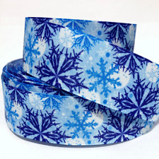 "Grosgrain Ribbon 5/8"", 7/8"", 1.5"" & 3"" Snowflakes Christmas time Winter Printed"