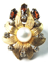 Antique Gold Pearl Enhancer Pearl Diamond Garnet Double Hole Clasp Brooch 28mm
