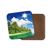 Cool Tropical Island Drinks Coaster - Beach Palm Tree Sky Office Fun Gift #8483