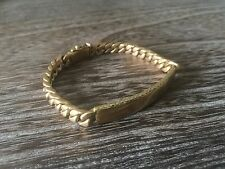 VINTAGE 1930'S ART DECO 14K GOLD MENS ESTATE CURB CHAIN LINK ID BAR BRACELET