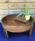 Antique Indian Mango Wood Chakki Spice Grinding Round Coffee Table 19th Century