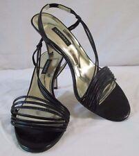 Caparros Black Patent Leather Strappy Slingback Sandals Heels 8.5 Med