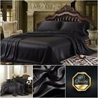 King Size 4-pcs Super Soft Satin Sheet Set Fitted Flat Sheet Cover 2 Pillowcases