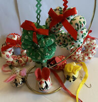 Lot of 9 Vintage Handmade Fabric Wreath Mouse Christmas Ornaments