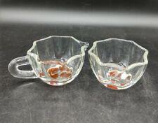 Vintage Clear Art Glass Open Sugar And Creamer Set Color Bottom