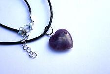 Geschliffener Amethyst Herz Anhänger an Schmuckband Halskette Herzkette 2 x 2 cm