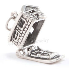 3D HOUSE LOG CABIN Opens 925 Sterling Silver Camp Hike Charm Pendant Moveable