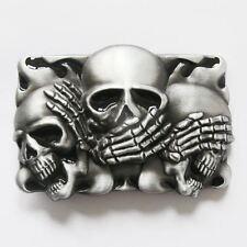 Hear, See, Speak No Evil Shy Skulls Black Flame Belt Buckle