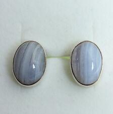Calcedonia Enchufe de oído en 925 Silber Gema,Pendientes,gema,Ovalo,Azul,Nuevo