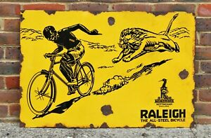 Vintage enamel Raleigh sign THE ALL-STEEL BICYCLES NOTTINGHAM- ENGLAND