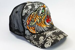 Ed Hardy Tiger Head Embroidered Men's Trucker Mesh Snap Back Hat Cap
