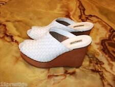 OBELINE MADE IN ITALY  PLATFORM  WEDGES HEEL SHOES WHITE LEATHER SZ 41, USA 11