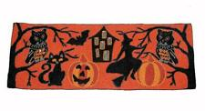"Halloween Cat Witch Owl Haunted House Bat Hand Beaded 36"" x 13"" Tablerunner NWT"