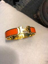 Clic Clac H Bracelet Authentic Hermes Orange/Gold Enamel Narrow