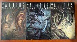 """1990 DARK HORSE Comics ALIENS """"Earth War"""" #1, #2 & #4 lot of 3- VF- we combine"""