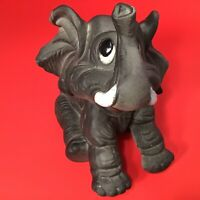 """DUMBO ELEPHANT FIGURINE ART POTTERY BISQUE VINTAGE 6"""" HIGH TRUNK UP GOOD LUCK"""