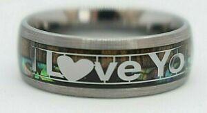 Tungsten Carbide Ring Wedding Men's Women's Silver Band Abalone Shell Koa Wood