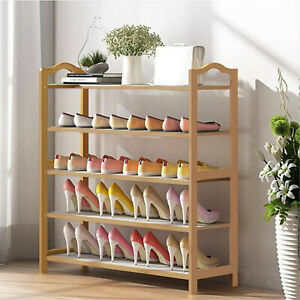 BAMBOO SHOE FOOTWEAR RACK ORGANISER WOODEN STORAGE SHELVES STAND SHELF UNIT