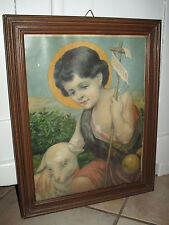 Antik Heiligenbild Schutzbild Jesus Kind mit Lamm Schaf Shabby Chic Bild Holz