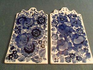 Pair of Hand painted? Ceramic Wall plaques, signed Krajewska