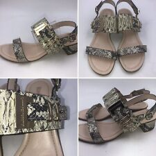 🌟Russell & Bromley Faux Snakeskin Leather Size 4 37 Block Heel Sandals Womens