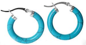 Genuine Natural Blue Turquoise Sterling Silver Snap Closure Hoop Dangle Earrings