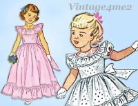 1940s Vintage Simplicity Sewing Pattern 2686 Toddler Girls Dress or Gown Size 3
