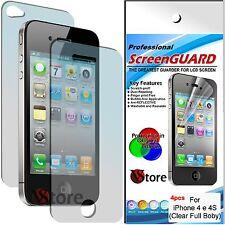 4 Pellicola Per iPhone 4 4S 4th 2 Fronte + 2 Retro Proteggi Display Pellicole