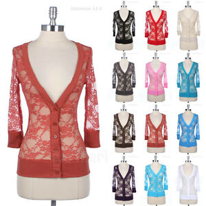 Womens Floral Lace Button Down 3/4 Sleeve V Neck Cardigan Strech Spandex S M L