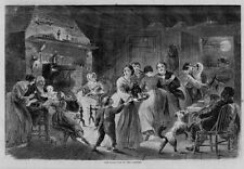 NEW-YEARS EVE IN THE COUNTRY FIREPLACE BELLOWS NEGRO PLAYING VIOLIN GRANDMA