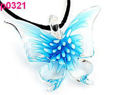 p321 Lifelike Butterfly art lampwork glass pendant BLUE CUTE CA