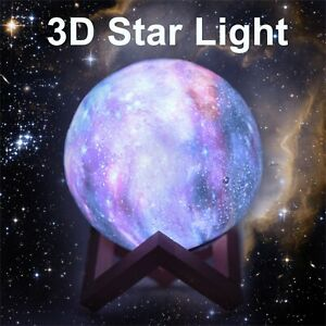 3D Star Moon LED Lamps RGB Color Change Touch Desk Night Lights Hone Decor HL872