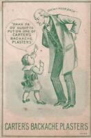 Victorian Trade Card Carter's Backache Plasters Patent Medicine Toddler & Granpa