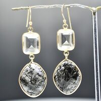 925 Sterling Silver Black Rutile, Clear Quartz Gemstone Earrings 8.78 gm Jewelry