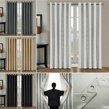 Pair Hotel Quality Thermal Blackout Curtains Eyelet Ready Made Ring Top Curtains