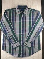 Towncraft Wrinkle Free Mens Long Sleeve Button Down Plaid Shirt Size Large