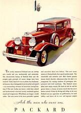 Old Print.  Red 1931 Packard Sedan-Limousine Automobile