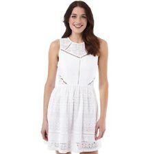 Superdry Womens Lace Panel Skater Dress, Optic White, Large UK 14, BNWT