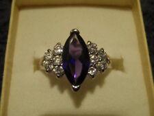 1 x Beautiful Silver Tone Dress Ring/ Stone Purple Amethyst Colour/approx Size O