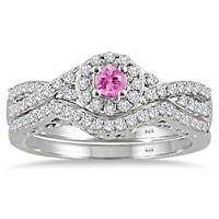 2.10 Ctw Diamond 14k White Gold Finish Promise Halo Wedding Band Bridal Ring Set