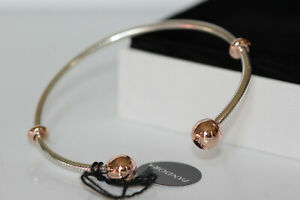 NWT PANDORA ROSE™ MOMENTS SNAKE CHAIN OPEN BANGLE  588291 BOX $115 STOPPERS CAPS