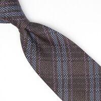 Josiah France Mens Wool Silk Necktie Brown Light Blue Pink Plaid Weave Tie Italy
