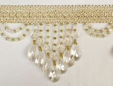 "5 Yards Off White 5"" Drop   Beaded FRINGE Trim -DRAPERY & UPHOLSTERY MODERN Look"